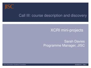 XCRI mini-projects