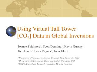 Using Virtual Tall Tower  [CO 2 ] Data in Global Inversions