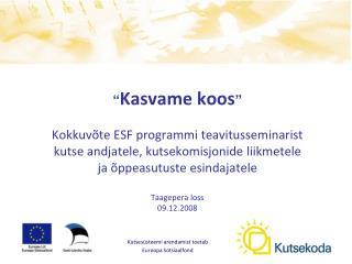 Kutsesüsteemi arendamist toetab  Euroopa Sotsiaalfond