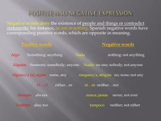 Positive and Negative Expression