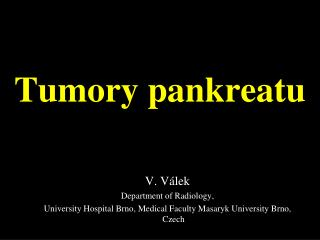 Tumory pankreatu