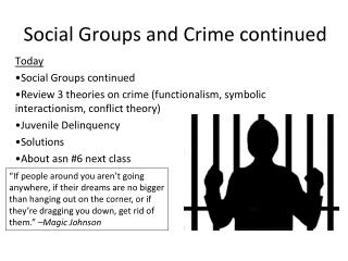 Social Groups and Crime continued