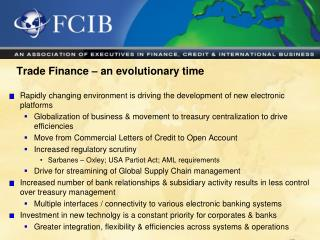 Trade Finance – an evolutionary time