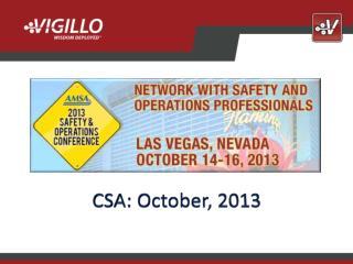 CSA: October, 2013