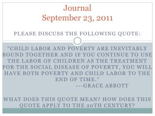 Journal September 23, 2011