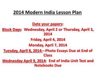 2014 Modern India Lesson Plan
