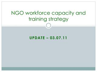 NGO workforce capacity and training strategy