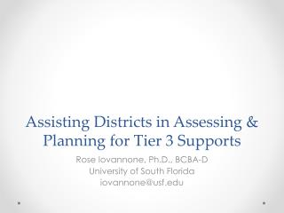 Assisting Districts in Assessing & Planning for Tier 3 Supports