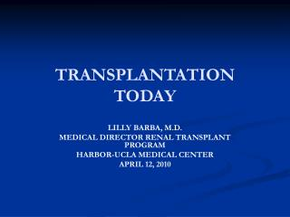 TRANSPLANTATION  TODAY