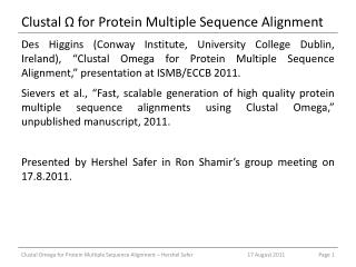 Clustal Ω  for Protein Multiple Sequence Alignment