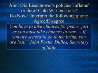 Cold War Policies under Eisenhower