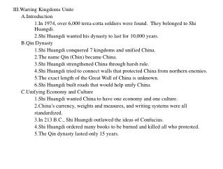 III.Warring Kingdoms Unite 	A.Introduction