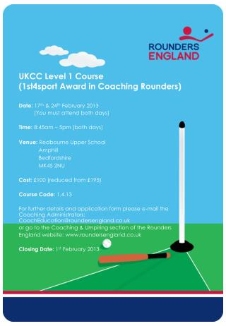UKCC Level 1 Course (1st4sport Award in Coaching Rounders)