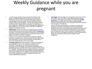 Weekly Guidance while you are pregnant