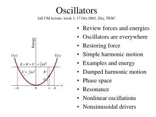 Oscillators fall CM lecture, week 3, 17.Oct.2002, Zita, TESC