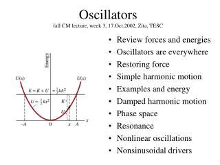 Oscillators fall CM lecture, week 3, 17.Oct.2002, Zita, TESC