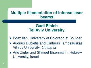 Multiple filamentation of intense laser beams Gadi Fibich Tel Aviv University