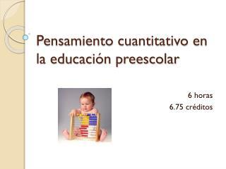 Pensamiento cuantitativo en la educaci�n preescolar