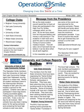 Utah Chapter Student Association Newsletter