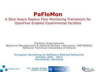 Christos Argyropoulos Network Management & Optimal Design Laboratory (NETMODE)