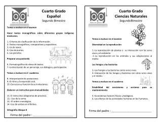 Cuarto Grado Español Segundo Bimestre