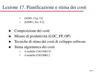 Lezione 17. Pianificazione e stima dei costi