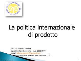 La politica internazionale di prodotto