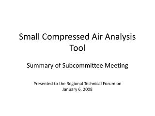 Small Compressed Air Analysis Tool