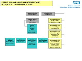 CAMHS IN HAMPSHIRE MANAGEMENT AND INTEGRATED GOVERNANCE TEAM