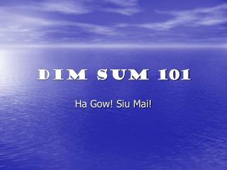 DIM SUM 101