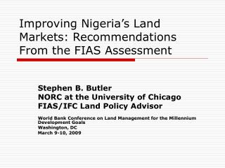 Improving Nigeria's Land Markets: Recommendations From the FIAS Assessment