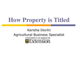 How Property is Titled