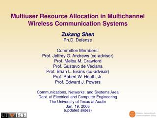 Multiuser Resource Allocation in Multichannel Wireless Communication Systems