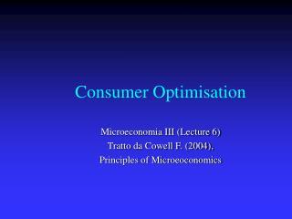 Consumer Optimisation