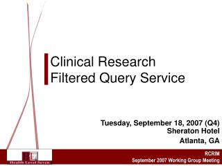 Clinical Research Filtered Query Service
