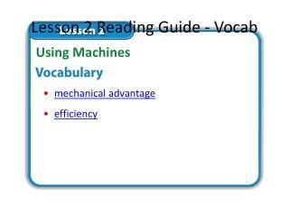 Lesson 2 Reading Guide - Vocab