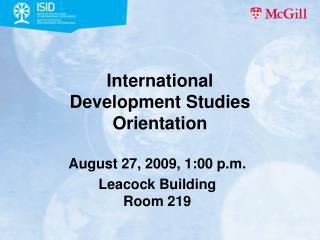 International  Development Studies Orientation