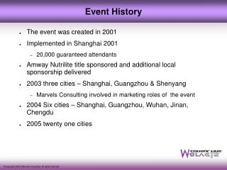 The event was created in 2001 Implemented in Shanghai 2001 20,000 guaranteed attendants