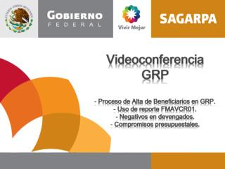 Videoconferencia GRP  Proceso de Alta de Beneficiarios en GRP.  Uso de reporte FMAVCR01.