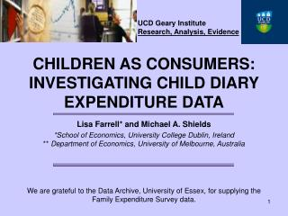 UCD Geary Institute Research, Analysis, Evidence