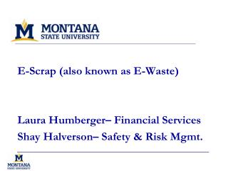 E-Scrap (also known as E-Waste) Laura Humberger� Financial Services