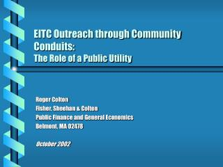 EITC Outreach through Community Conduits: The Role of a Public Utility