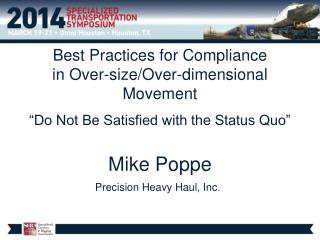 Best Practices for Compliance  in Over-size/Over-dimensional Movement