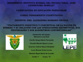 Integrantes del equipo: Barranco Luna Itzel Carrillo Anaya María Fernanda