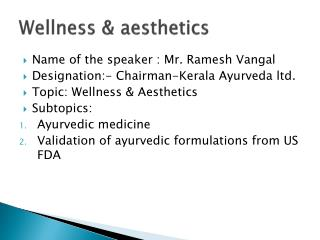 Wellness & aesthetics