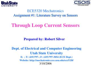 ECE5320 Mechatronics Assignment #1: Literature Survey on Sensors  Through Loop Current Sensors