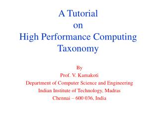 A Tutorial  on High Performance Computing Taxonomy