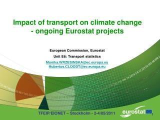Impact of transport on climate change - ongoing Eurostat projects