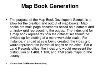 Map Book Generation