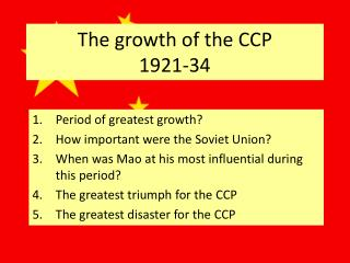 The growth of the CCP 1921-34